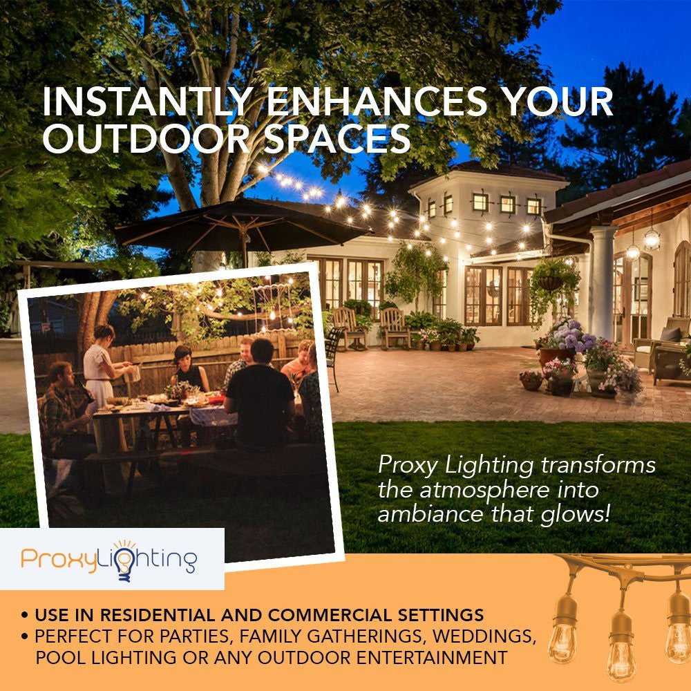 48 FT Weatherproof Outdoor String Lights by Proxy Lighting - 15 Hanging Sockets - Perfect Patio Lights - Commercial Grade - 16 11 Watt S14 Dimmable Incandescent Bulbs Included