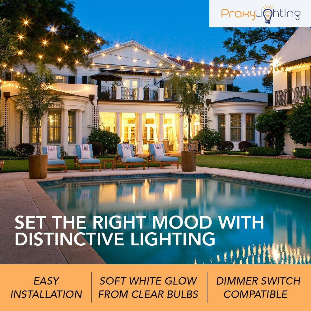 48 FT Weatherproof Outdoor String Lights By Proxy Lighting   15 Hanging  Sockets   Perfect Patio