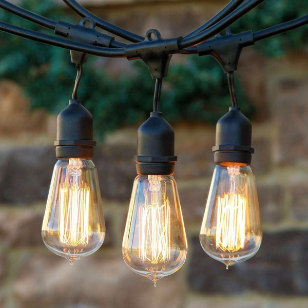 Proxy Lighting Weatherproof Outdoor String Lights with Vintage Edison Bulbs – UL Listed - 48 Feet Long with 15 Dropped Sockets- Perfect Patio Lights - Black