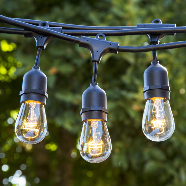 48 FT Incandescent Patio Lights - UL Listed - 15 Hanging Sockets - Includes Dimmable 11 watt bulbs
