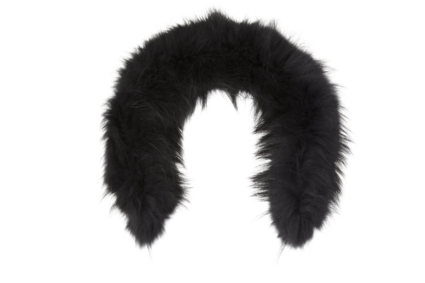 RACCOON FUR HOOD TRIM - black