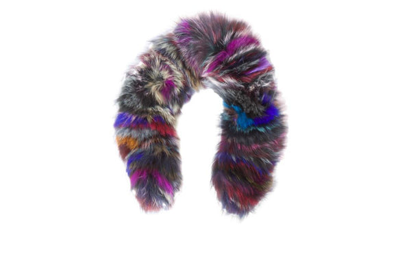 CHILD: FOX FUR HOOD TRIM - multicolor