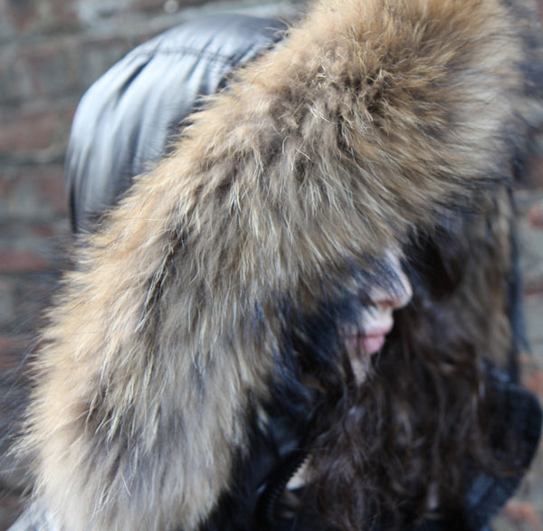 RACCOON FUR HOOD TRIM - natural color