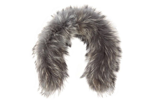 RACCOON FUR HOOD TRIM - gray