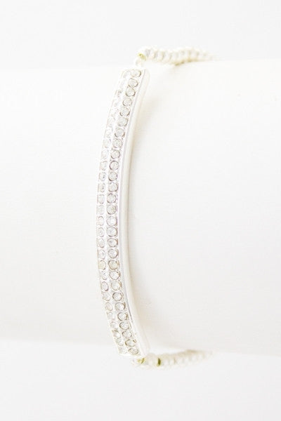 Crystal Studded Bar Beaded Bracelet