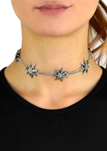 Rhinestone Studded Thin White Wrap Choker