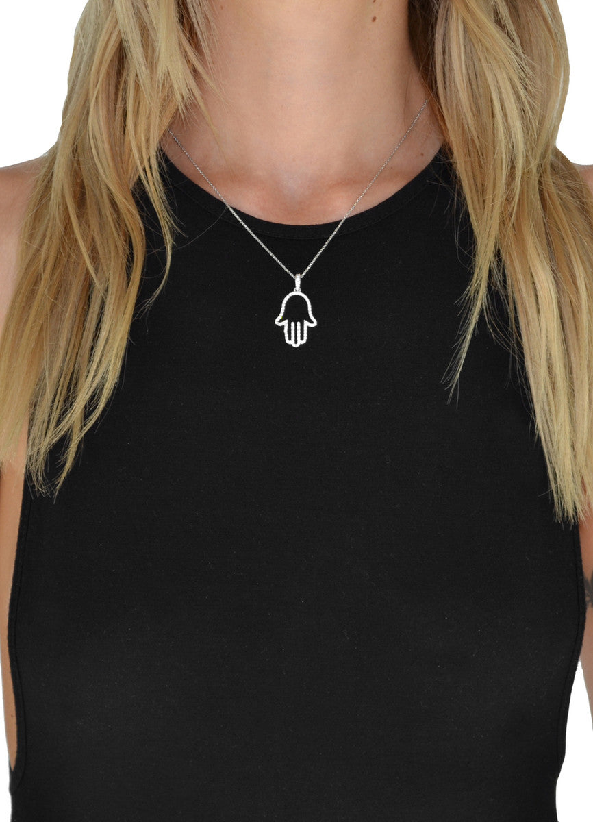 Outlined Hamsa Cubic Zirconia Necklace