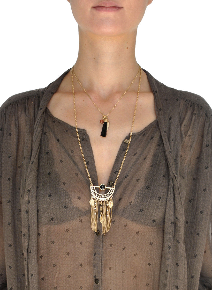 Shiloh Layered Tassel Fringe Necklace