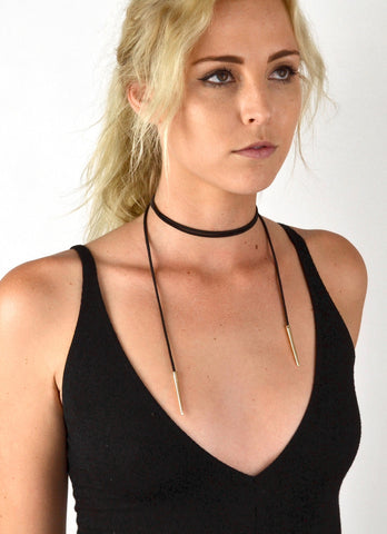 Extra Wide Black Vegan Suede Choker