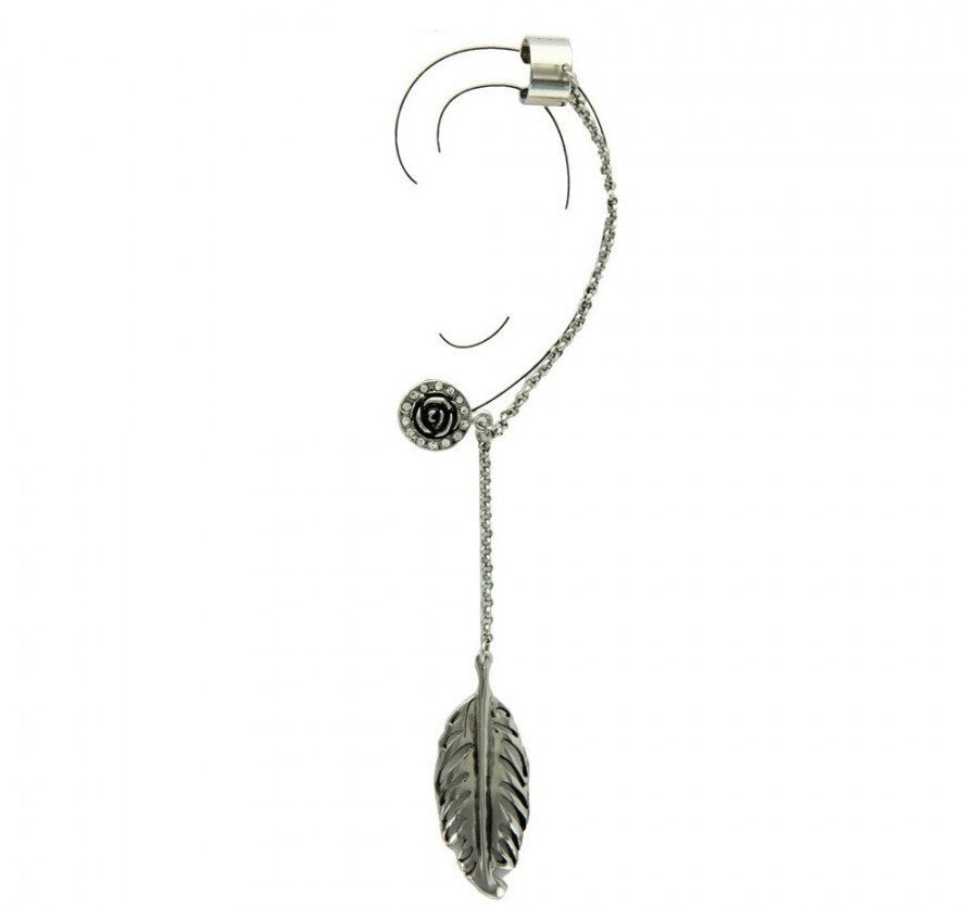 Bohemian Rose Chain Ear Cuff - Silver