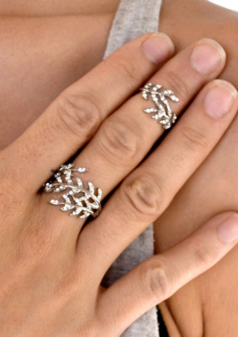 Dainty Crystal Bar Chain Linked Knuckle Ring