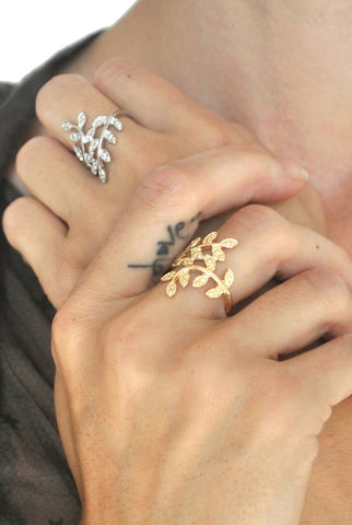 Crystal Double Cross X Linked Knuckle Ring