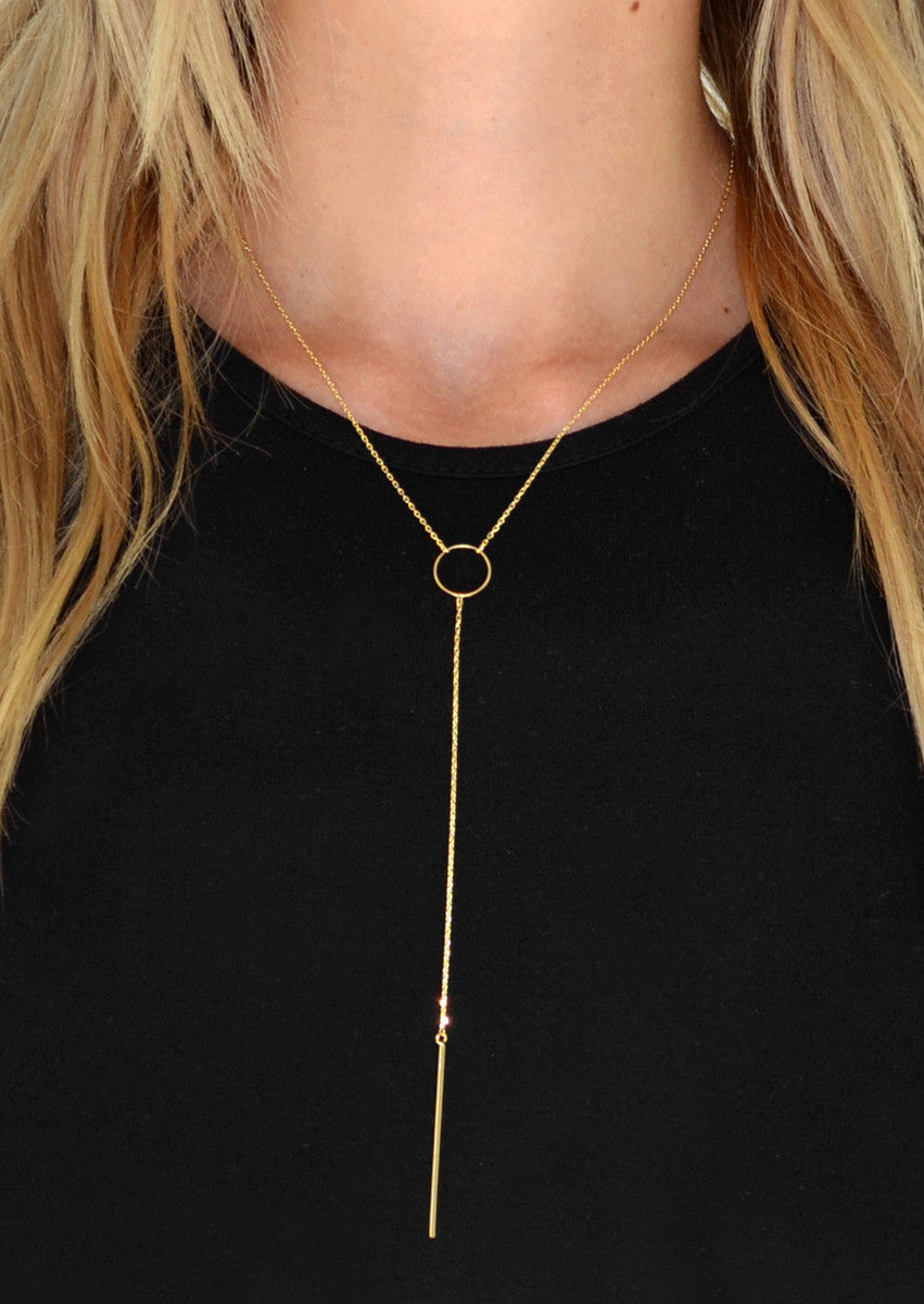 Delicate Circle & Bar Y-Chain Necklace