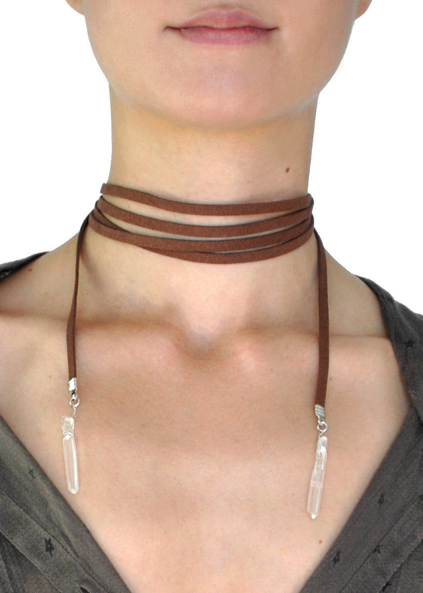 Aryana Natural Stone Brown Suede Wrap Choker Necklace