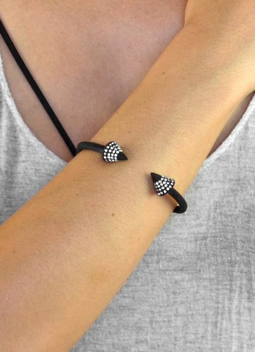 Crystal Spike Black Spring Bracelet