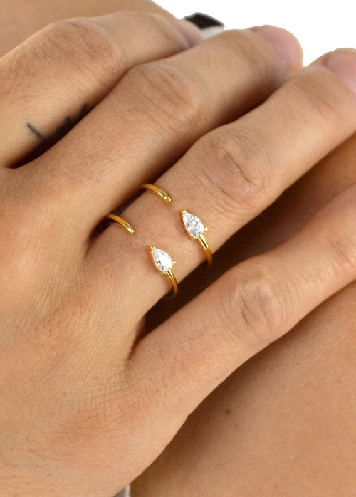 Tiny Double Crystal Teardrop Ring