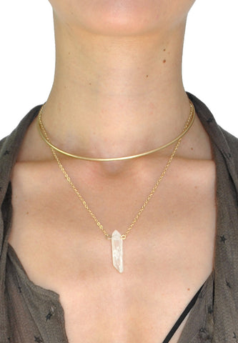 Gold Studded Gray Wrap Choker