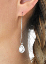 Crystal Teardrop Fish Hook Earrings