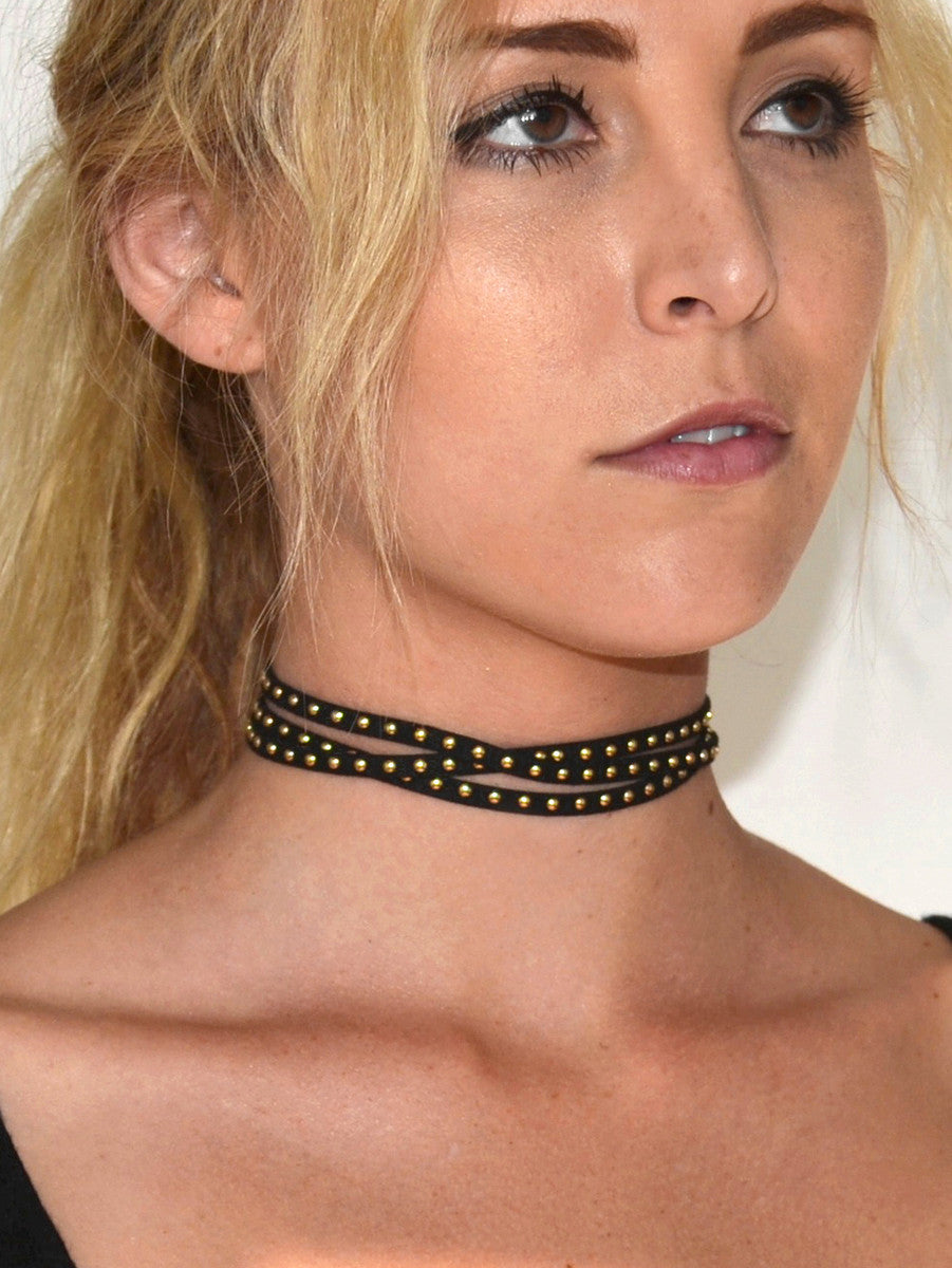Gold Studded Black Wrap Choker