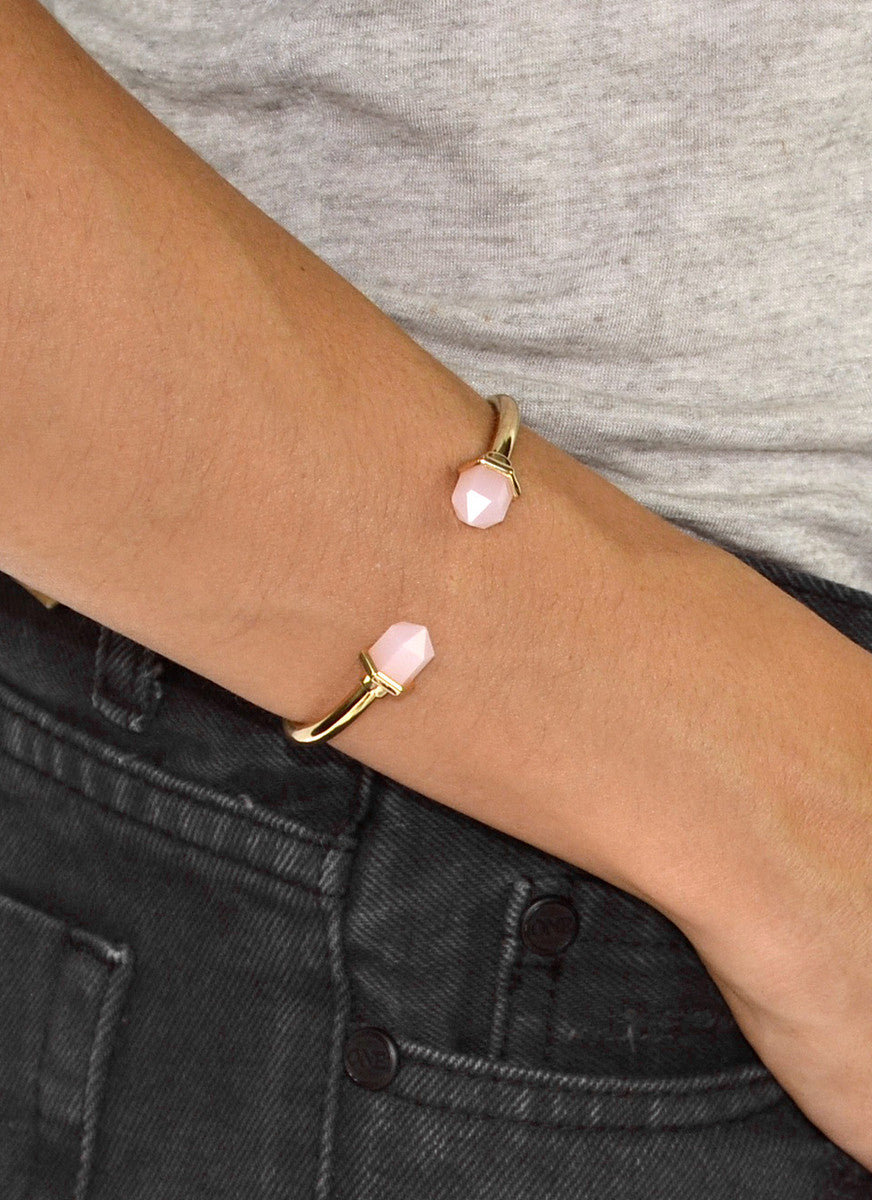 Rose Quartz Hinged Open Cuff Bracelet