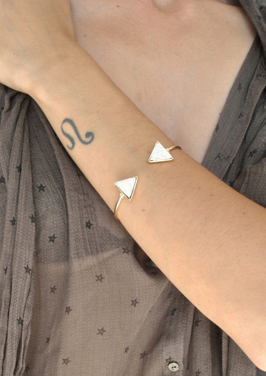 Dakota Druzy Triangle Cuff Bracelet