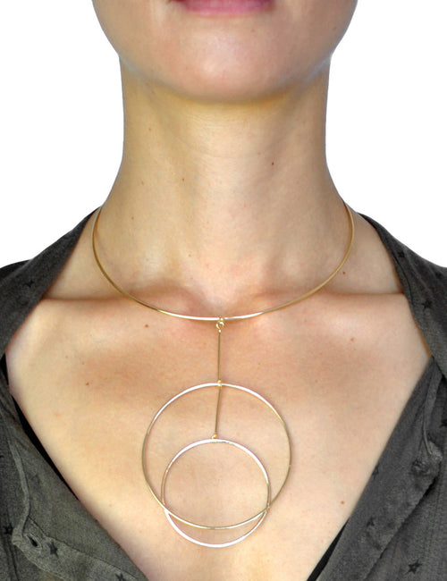 Geometric Drop Gold Choker Necklace