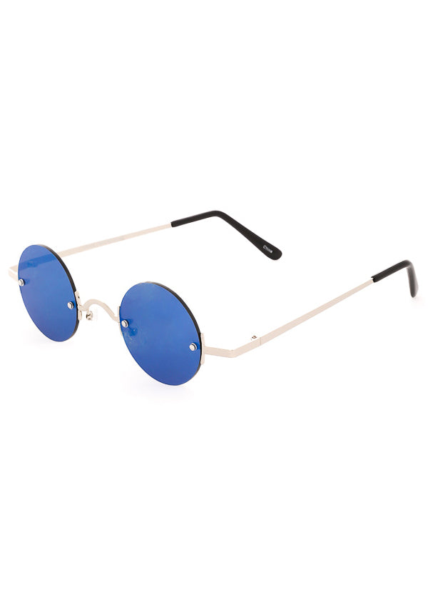 Leon Small Round Mirrored Sunglasses - Silver / Blue