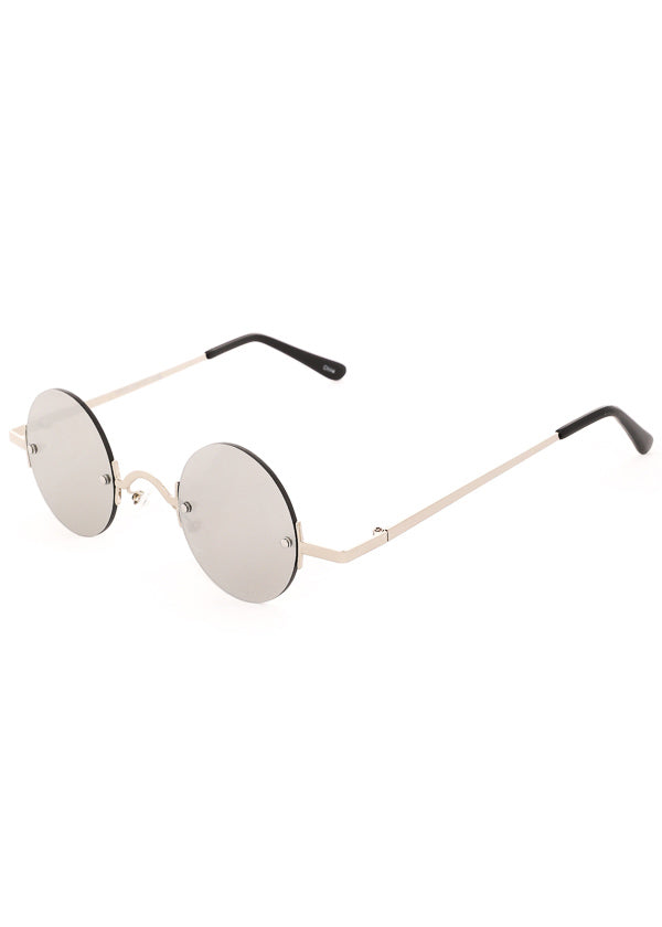 Leon Small Round Mirrored Sunglasses - Silver