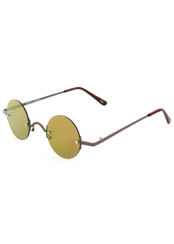 Leon Small Round Mirrored Sunglasses - Gunmetal