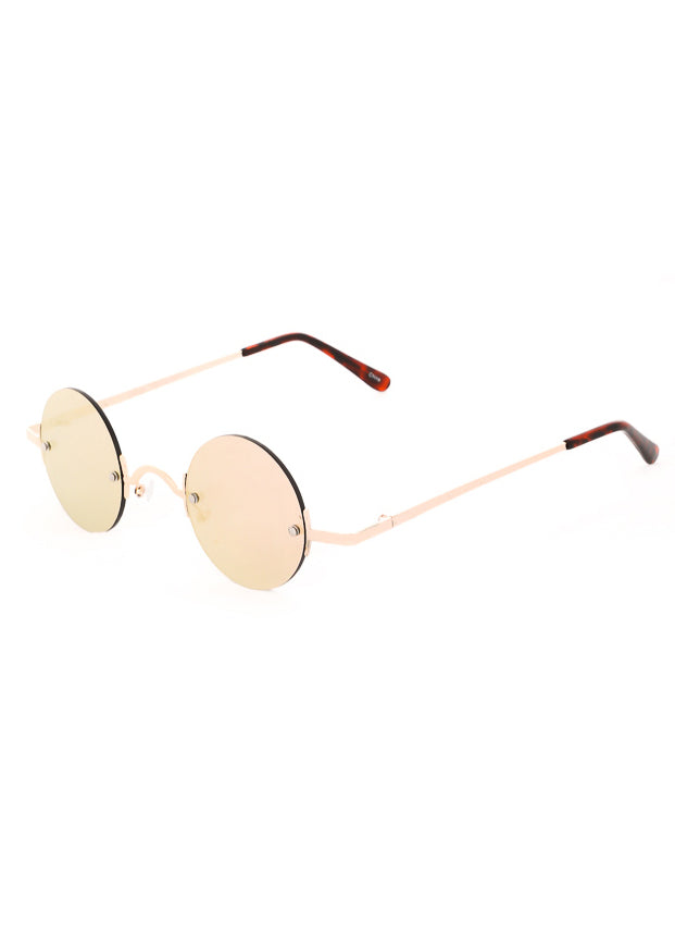 Leon Small Round Mirrored Sunglasses - Gold / Pink
