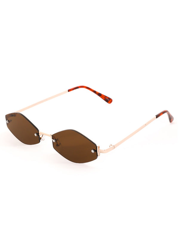 NEO Frame Thin Sunglasses Gold Brown