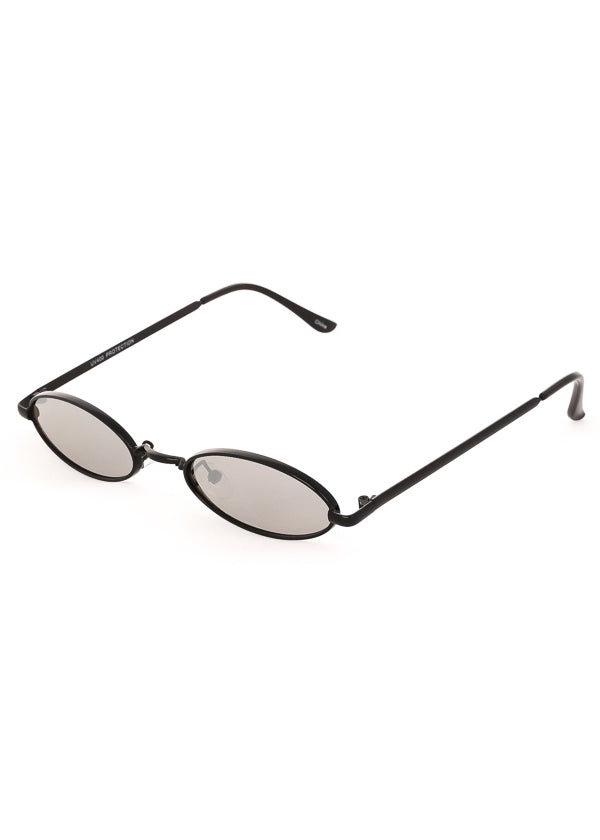 Tiny Oval Mirrored Sunglasses - Black / Silver