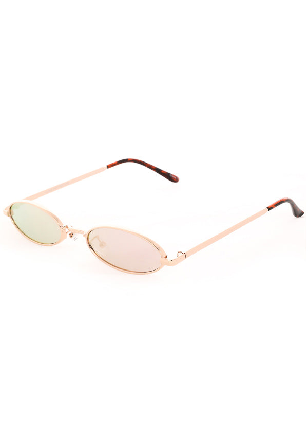 Tiny Oval Mirrored Sunglasses - Gold/Pink