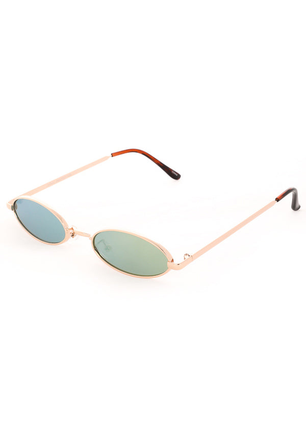 Tiny Oval Mirrored Sunglasses - Gold / Green