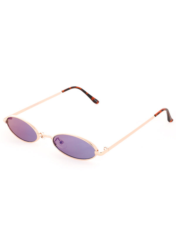 Tiny Oval Mirrored Sunglasses - Gold / Purple