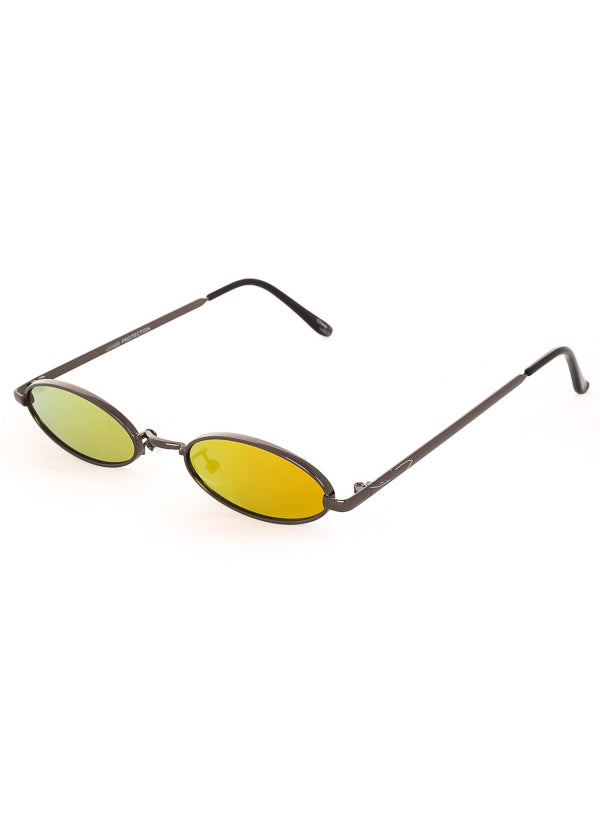Tiny Oval Mirrored Sunglasses - Black / Yellow
