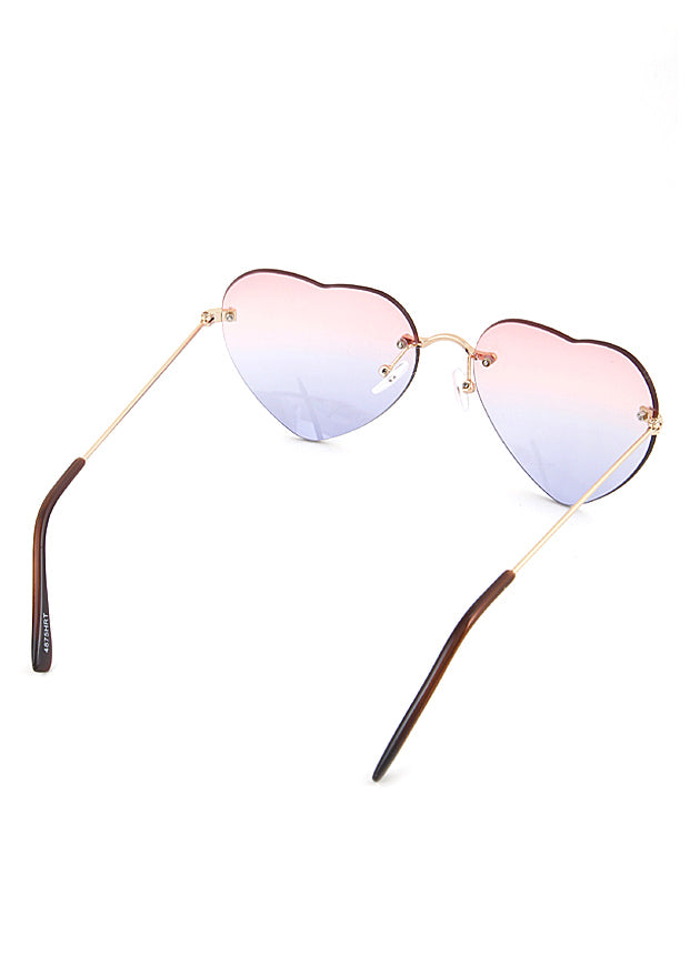 Rimless Heart Frame Sunglasses Pink Purple