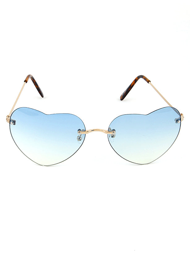 Rimless Heart Frame Sunglasses Blue