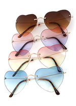 Rimless Heart Frame Sunglasses