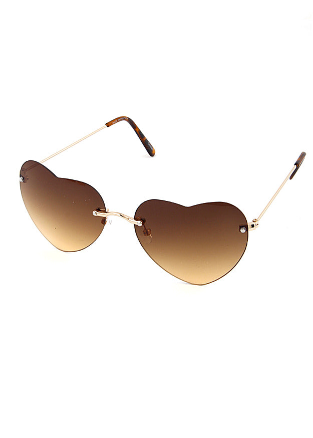 Rimless Heart Frame Sunglasses Brown