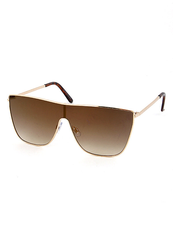 Pamela Shield Sunglasses Gold Brown