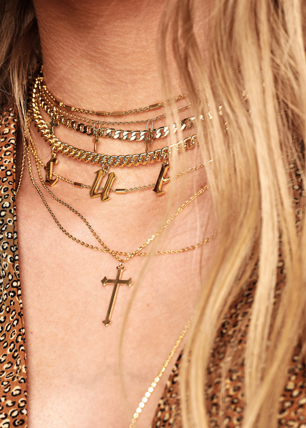 Pray For Us Layered Cross Necklace
