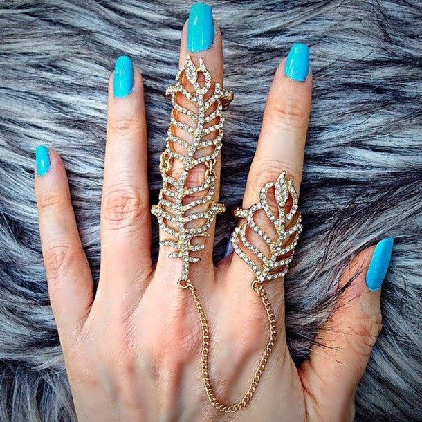 Crystal Leaf Chain Linked Full Finger Knuckle Ring