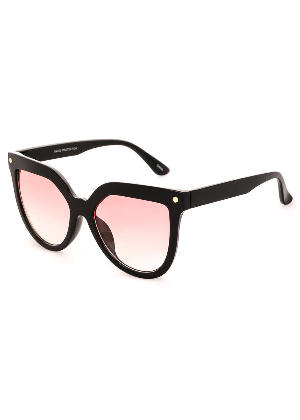 Velvet Rope Oversized Sunglasses - Black Pink Lens