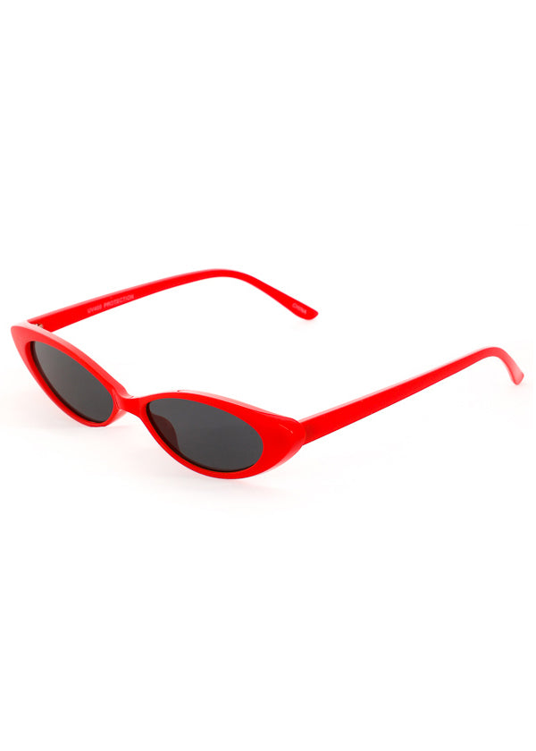Thin Retro Cat Eye Sunglasses - Red