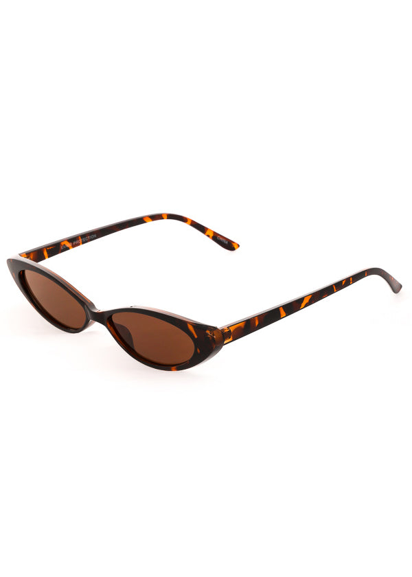 Thin Retro Cat Eye Sunglasses - Tortoiseshell