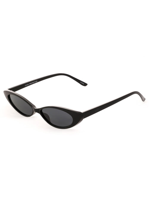 Thin Retro Cat Eye Sunglasses - Black