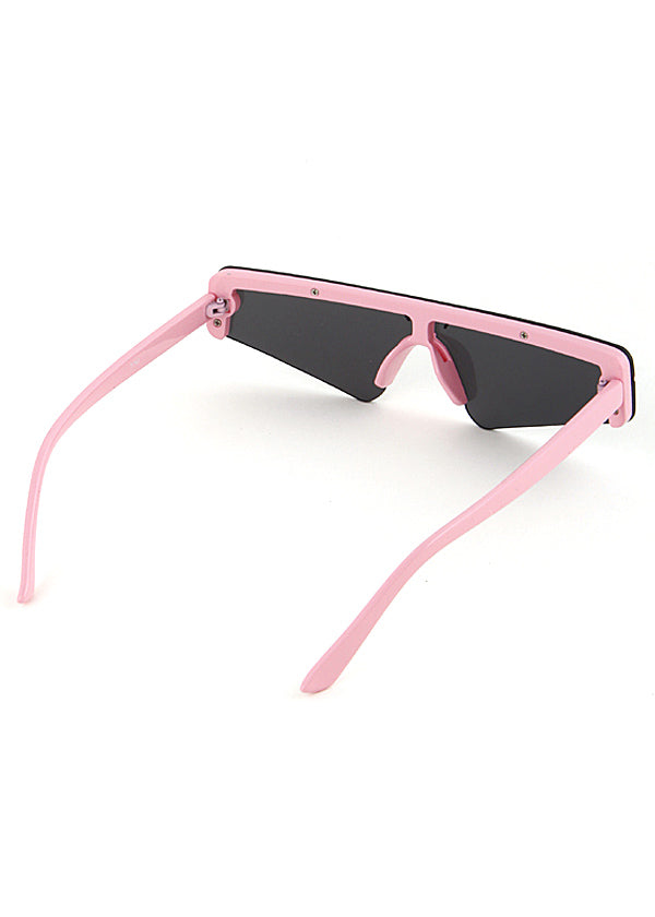 Slim Techno Rectangle Sunglasses Pink