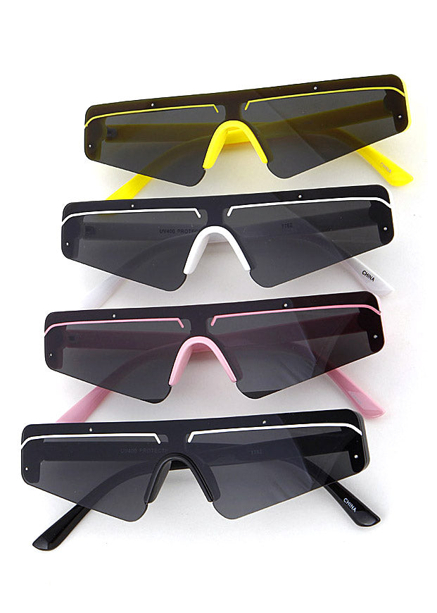 Slim Techno Rectangle Sunglasses
