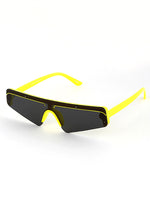 Slim Techno Rectangle Sunglasses Yellow